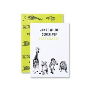 Einladungskarte Kindergeburtstag Wilde Tiere