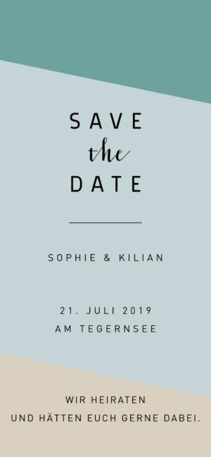 Digitale Hochzeit Einladung Blau Grün
