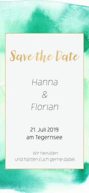 Digitale Einladungskarte Hochzeit Grün Gold