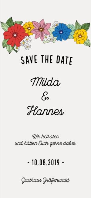 Digitale Einladungskarte Hochzeit Retro Blumen